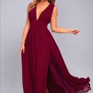 Lulu's Heavenly Hues Burgundy Maxi Dress